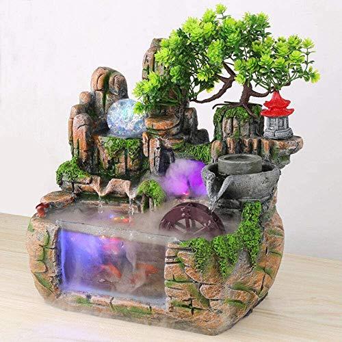 Fontana da interni, 3D Rockery Waterscape con effetto nebulizzazione e illuminazione a LED, pesce rosso, cascata, resina decorativa per meditazione Zen