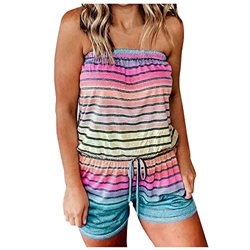 LA GUAPA Womens Romper Sleeveless Summer Beach Striped Gradient Color Romper Strapless Tube Top Casual Off Jumpsuit