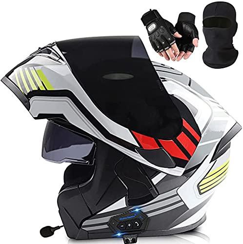 Motorbike Flip Up Full Face Modular Bluetooth Helmet Adult Snowmobile Helmets Men Women Motocross Moped Motorcycle Crash Helmet Men DOT Certification C2, M=57-58cm