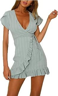 CLOUSPO Summer Wrap Ruffle Dresses for Women Casual Deep V Neck Mini Short Dress A Line