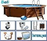 Interline 50700210 Bali Auf-und Erdeinbau Holzwand Rund Pool 4,40m x 1,36m, Filteranlage mit Filterbällen 6m³/h