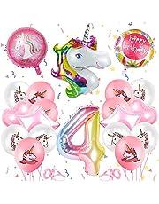 Enhörning födelsedagsdekoration, 4 år enhörning party flicka födelsedagsdekoration ballonger, enhörning ballong, folieballong, party barn födelsedag födelsedag dekoration ballong