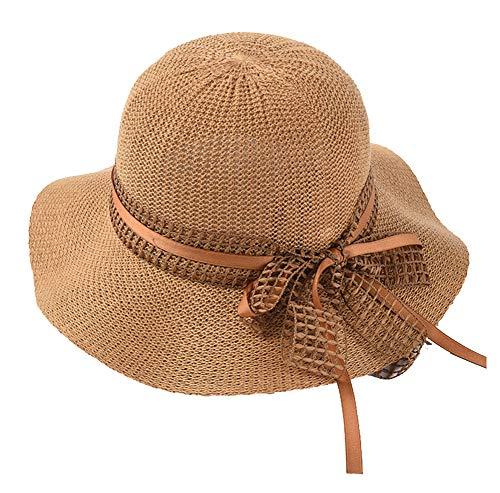 SLCN Sombrero de Playa de Verano para Mujer Sombrero de ala Ancha de ala Ancha Bowknot Sombrero de Playa UPF30 +