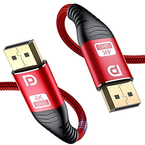 sweguard DisplayPort Kabel 4K- DisplayPort auf DisplayPort Kabel, DP zu DP Kabel(4K@60Hz,1440p@144Hz) Nylon Geflecht Ultra Highspeed Display Port-Kabel für PC,TV,Beamer,Monitor,Grafikkarten (3m, rot)