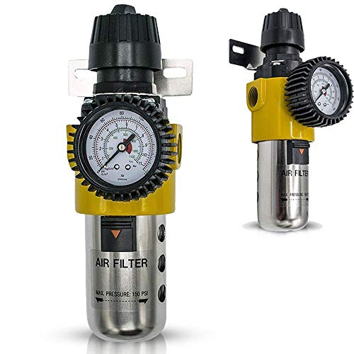 LE LEMATEC 1/2 Inch Air Compressor Filter Regulator with Gauge, Inline Water, Air Separator Filter for Air Compressor and Air Tools (AS209)