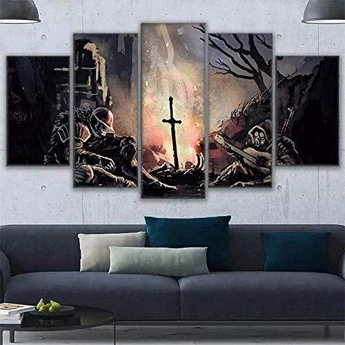 wodclockyui 5 Piezas Cuadro de Lienzo - Dark Souls Abstract Warrior Pintura 5 Impresiones de imágenes Decoración de Pared para el hogar Pinturas y Carteles de Arte HD 200cmx100cm sin