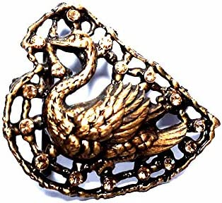 artigianale Hebilla para cinturón de 4 cm, cisne, color bronce, hebillas de metal o piedras o brillantes o esmaltes o cristales muranos y 1 llavero BSS cc2