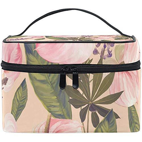 Nahtloser Blumenmuster-Make-upfall-Kosmetiktasche, justierbare Make-upbeutel imprägniern Toilettenartikel Bag-2L8-57EV