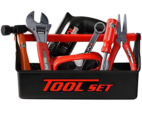 Playkidz Tool Box for Kids 22-Piece Boys & Girls Construction Toy Playset w/ Carry Chest, Working Push Button Power Drill, Hammer, Screwdriver, Wrench, Pliers, Saw & Other Realistic Tools Ages 3+