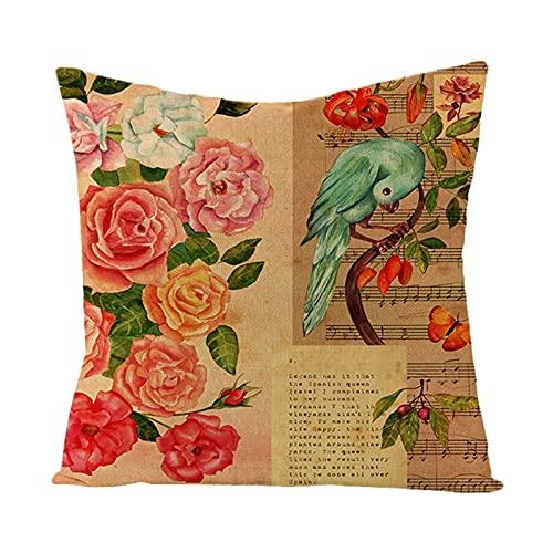 Beydodo Cojines Decorativos para Cama,Flores Pájaro y Nota Musical,Fundas de Cojines 45x45 Baratas Funda para Cojines Marrón Rojo