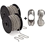 #10 Beaded Ball Chain 100 Foot Spool with a Second 100 Foot Spool and 100 Matching Connectors - Bundle