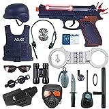 Costume della Polizia per Bambini, 18 Pezzi Costume da Poliziotto War Survival Games Giocattolo Cosplay Set da Gioco Uniforme da Poliziotto Gilet, Casco, Manette, Badge per Bambini 3-12 Anni