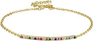 E - Bracciale in argento sterling 925 con arcobaleno chian da donna, placcato in oro 18 carati con zirconia cubica, sempli...