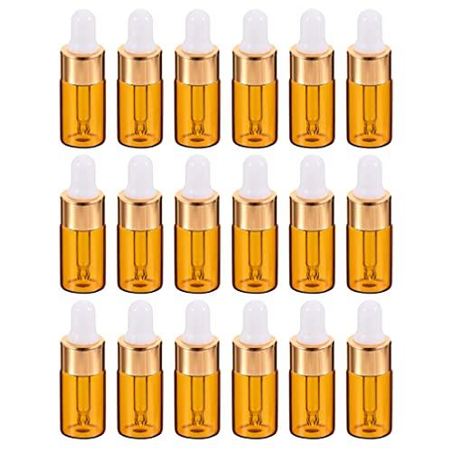 Beaupretty 25 st 1 ml bärnsten glasflaskor med glas ögondropper mini tom eterisk olja droppflaska hållare