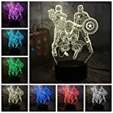 Veilleuses 3D lampe illusion Avengers Marvel Comics Iron Man Spider-Man LED Jouets pour...