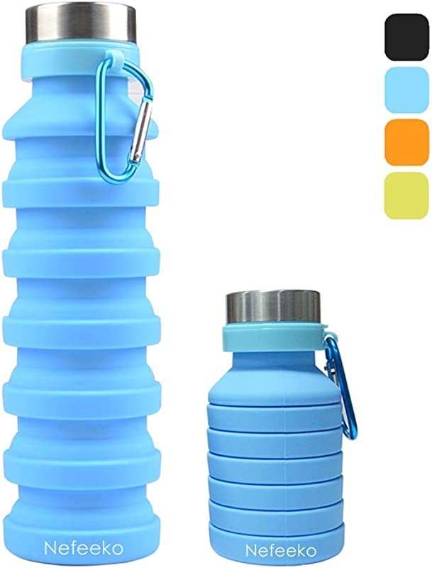 Nefeeko Collapsible Water Bottle Reuseable BPA Free Silicone Foldable Water Bottles For Travel Gym Camping Hiking Portable Leak Proof Sports Water Bottle With Carabiner 18oz