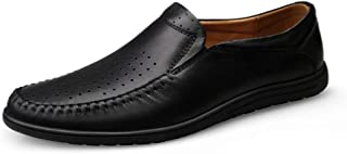 XueQing Pan Driving Loafers for Men Casual Shoes Slip-on Classic Business Dress Dating Flat Solid Genuine Leather Perforated Breathable (Color : Black Perforated, Size : 8.5 UK)