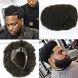 100% de privacidad duradero Afro Bisoñes postizo con cabello humano 100% de la base encaje francés con los hombres de la PU Alrededor del Afro de la peluca de los hombres de color # 1B,#1b,7*9