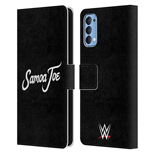 Head Case Designs Officially Licensed WWE Logo Samoa Joe Leather Book Wallet Case Cover Compatible with Oppo Reno 4 5G
