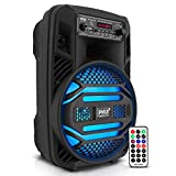 "Portable Bluetooth PA Speaker System - 300W Rechargeable Outdoor Bluetooth Speaker Portable PA System w/ 8"" Subwoofer 1"" Tweeter, Microphone in, Party Lights, MP3/USB, Radio, Remote - Pyle PPHP835B"