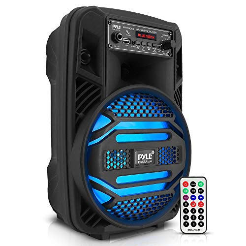 """Portable Bluetooth PA Speaker System - 300W Rechargeable Outdoor Bluetooth Speaker Portable PA System w/ 8"""" Subwoofer 1"""" Tweeter, Microphone in, Party Lights, MP3/USB, Radio, Remote - Pyle PPHP835B"""