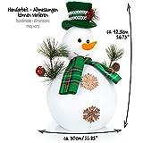 com-four® Schneemann Figur Größe XL, süße Weihnachtsdeko, optimal als Tischdeko zur Adventszeit, schöne Dekofigur für Innen, 42,5 cm (grün-weiß - XL) - 4