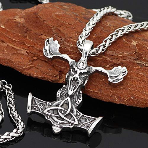 NICEWL Hombres Acero Inoxidable Cráneo Ciervo Mjolnir Colgantes Vikingo Collar, Nórdico Odin Símbolo Valknut Celtic Nudo Tótem, Protección Religiosa Pagan Amuleto Joyería