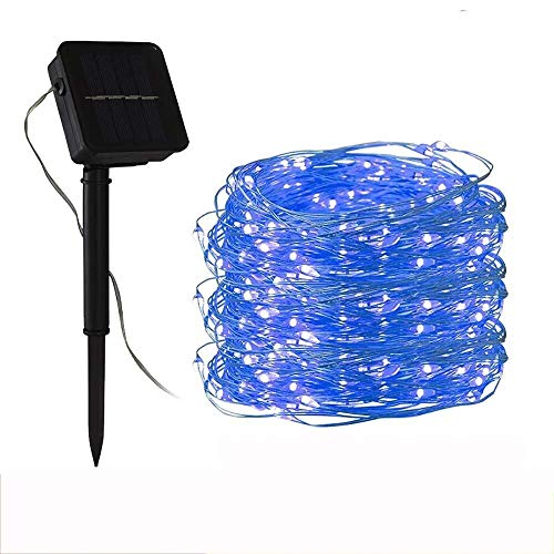 String Lights 8 Modes 100LED 40ft IP65 Waterproof Copper Wire,Fairy Lights Solar Panel Outdoor Indoor Christmas Garden (Color : Blue, Size : 12m)