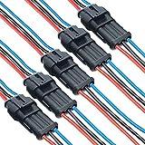 DONJON Auto Impermeabile Connettore, 3 pin connettori per cavi automobilistici, Connettori Elettrici con16 AWG Filo,Terminale Spina Connettore per auto, moto, camion, barca (5 set)
