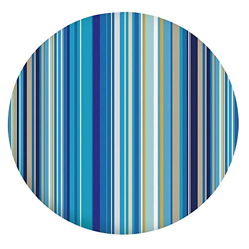 """Stain Resistant Elastic Edged Table Cloth,Vertical Stripes Repeating Retro Revival Pattern Funky Abstract Composition Decorative Tablecloth,Fits Round Tables 45-48"""",for Indoor and Outdoor Events Musta"""
