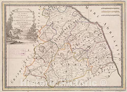 Historical Map, 1792 La Legazione D'Urbino la Marca l'Umbria lo Stato di Camerino i Territori di Perugia di Orvieto ed il Governo di Citta di Castello, Vintage Wall Art : 33in x 24in