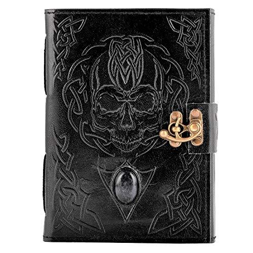 Libro de piel Urban – cráneo negro con lapiz azul piedra libro de la sombra y la magia – Diario de piel hecho a mano 18 x 13 cm, sin forro