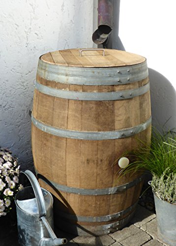 Temesso Barrique de vin, Citerne Eau de Pluie en Bois de chêne 225 litres recupérateur (Tonneau Ouvert avec Couvercle)