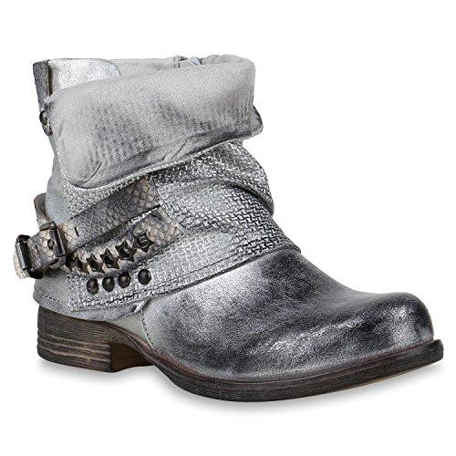 Damen Biker Boots Stiefeletten Metallic Schuhe 147494 Silber 38 Flandell
