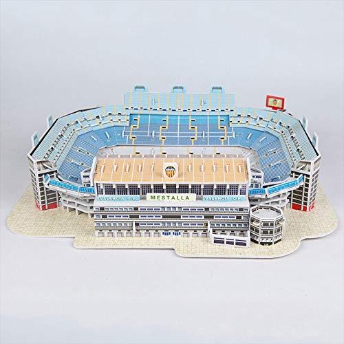 YWAWJ Sports 3D Estadio Modelo niños y Adultos Aficionados tecnología Significa España Valencia Equipo Estadio Modelo de Recuerdos DIY Juguete