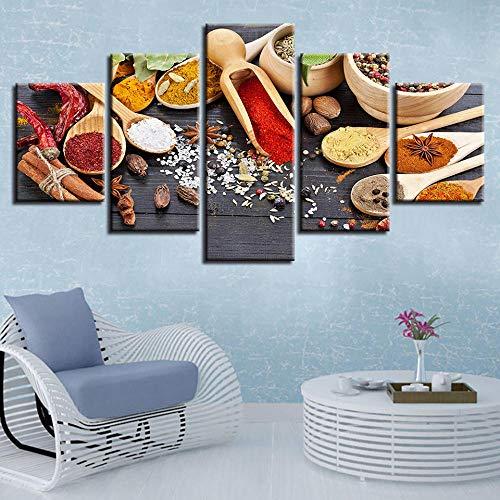 Rkmaster-Poster Modulaire canvasfoto HD afdrukken 5 stuks plakband peper lepel schilderij muurschildering moderne decoratie woonkamer lijst