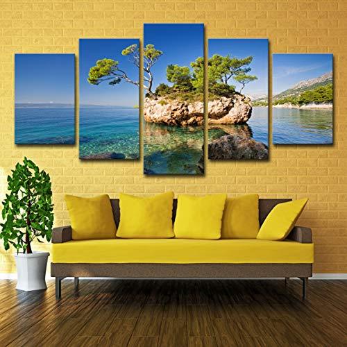 Art Stone_Home Decoración Sala de estar Art Wulian Stone en la vida Playa Isla Cielo azul Playa, M: 10X15-2P10X20-2P10X25-1P,