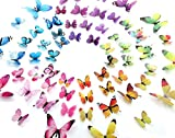 eoorau 60PCS Butterfly Wall Decor for Wall-3D Butterflies Wall Stickers Removable Mural Decals Home Decoration Kids Room Girls Bedroom Decor (5Colors)