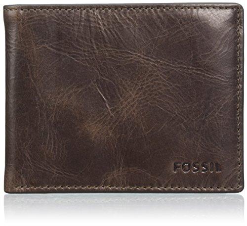 Fossil Herren Derrick Geldbörse, Braun (Dark Brown), 0.5x8.9x12.4 cm