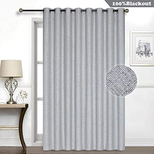 Everyday Celebration 100% Blackout Sliding Glass Door Curtains, Grommet Thermal Lining Inside Extra Wide Patio Curtain Drapes with Linen Look(Grey, 106