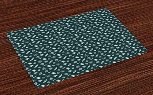 ABAKUHAUS Bananenblatt Platzmatten, Abstraktes Art-Palmen-aufgeteiltes Blatt Philodendron Aralia-Blatt-Muster, Waschbarer und Farbfester Stoff für Esszimmer und Küche, Hellgrau und Dunkles Blaugrün