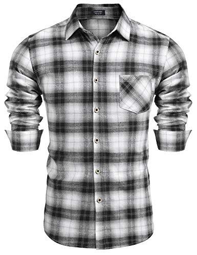 COOFANDY Herren Hemd Kariertes Freizeith Slim Fit Langarmhemd Karohemd Trachtenhemden für Herren Business Casual Schwarz Bügelleicht