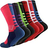 Thsbird Mens Outdoor Sport Cushion Basketball Crew Socks,Dri-Fit Mid-Calf Compression Athletic Ankle Socks Boy Girl, 6 Pack - Style B, US Shoe Size 6-12