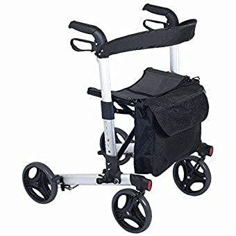NRS Healthcare M66739 Compact Easy Rollator Wheeled Walking Aid - FOLDABLE Provides extra support when walking, with mesh seat for resting and shopping bag Height adjustable strong aluminium frame, easy to grip handles and loop brake system Height ad...