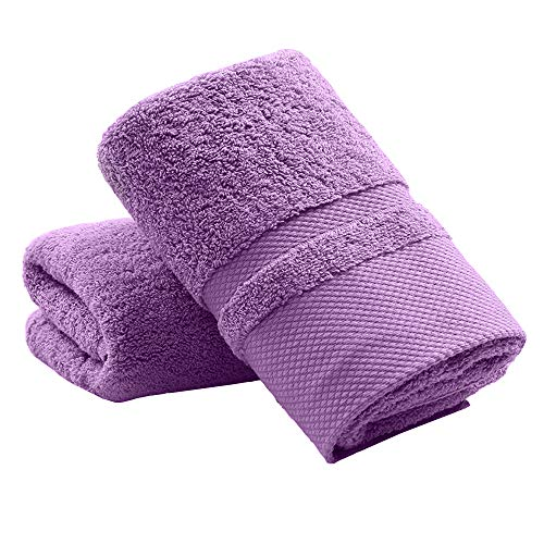 YAMAMA Hand Towels Set of 2, 100% Cotton Super Soft Highly Absorbent Face Towels for Bathroom 13x 30 Inch (Purple)