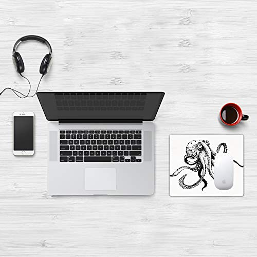 Mauspad Größe (32 x 25 cm),Octopus Decor, lächelnd schüchterne Krake posiert Restaurant Comic,Mousepad Design Extra stark vernähter Rand und gummierte Unterseite geeignet für Office und Gaming mauspad