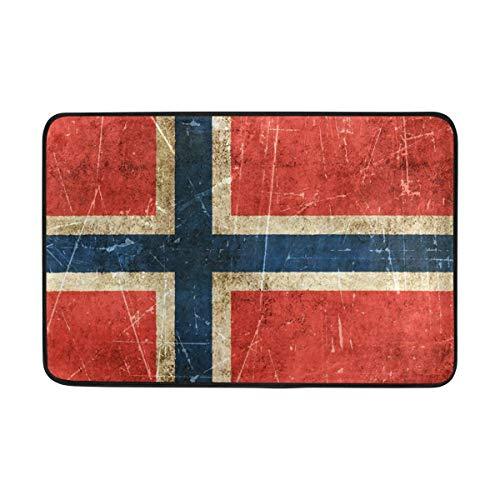 LiminiAOS Fußmatte norwegische Flagge Bad Teppiche - rutschfeste Eingang Teppich Willkommen Fußmatten