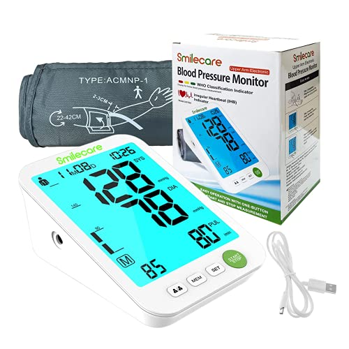 Smilecare BP Monitor Tensiómetro De Brazo, Detección Del Pulso Arrítmico, Tecnologíapara Dar Lecturas De Presión Arterial Rápidas, Cómodas y Precisas, Extra Large LCD