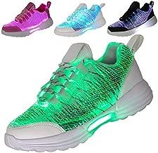 Hotdingding Women Men Kids Fiber Optic LED Shoes Light Up Sneakers with USB Charging Flashing Festivals Party Dance Luminous Shoes White