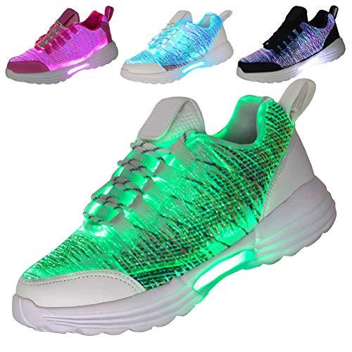 Hotdingding Women Men Kids Fiber Optic LED Shoes Light Up Sneakers with USB Charging Flashing Festivals Party Dance Luminous Shoes white Size: 6 Women/5 Men